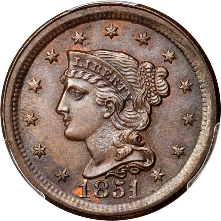 stacked short haircuts 1851 1c ms braided hair cents ngc 1828 | A0000156924 uscoin main 1 0