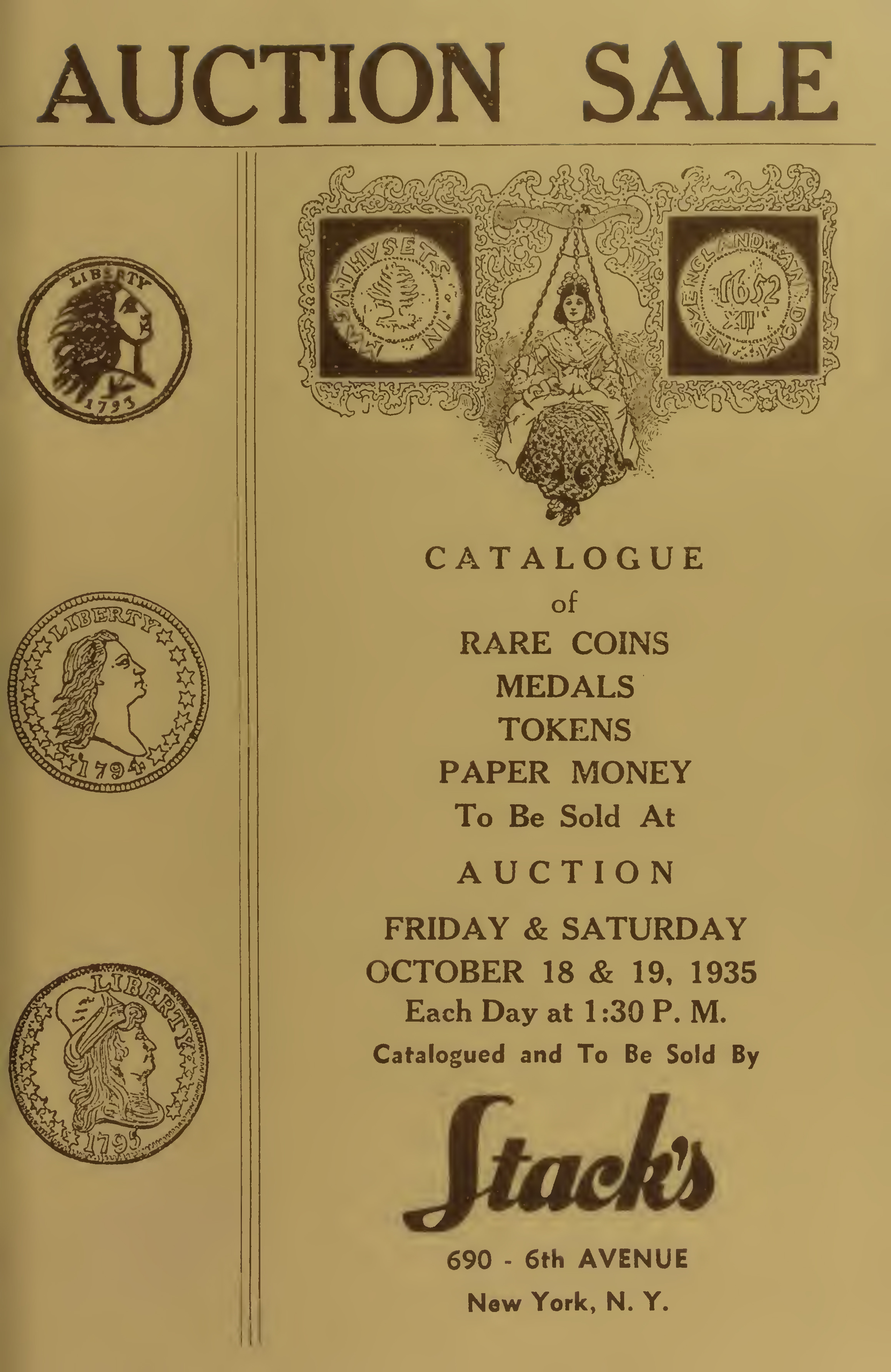 Catalogue of Rare Coins Medals Tokens Paper Money